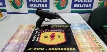 GPT prende e retira de circulação traficante com arma de fogo em Aragarças