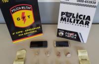 Força Tática e GPT prendem dois suspeitos de tráfico em Aragarças
