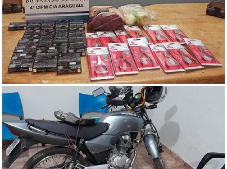 PM age rápido, prende suspeito e recupera produtos furtados em supermercado de Aragarças