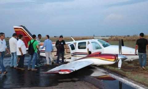 Avião com deputados Daltinho e Nilson Leitão faz pouso forçado no Araguaia; VEJA VÍDEO: